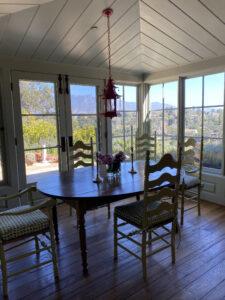 dining area at the Pasadena French Farmhouse property