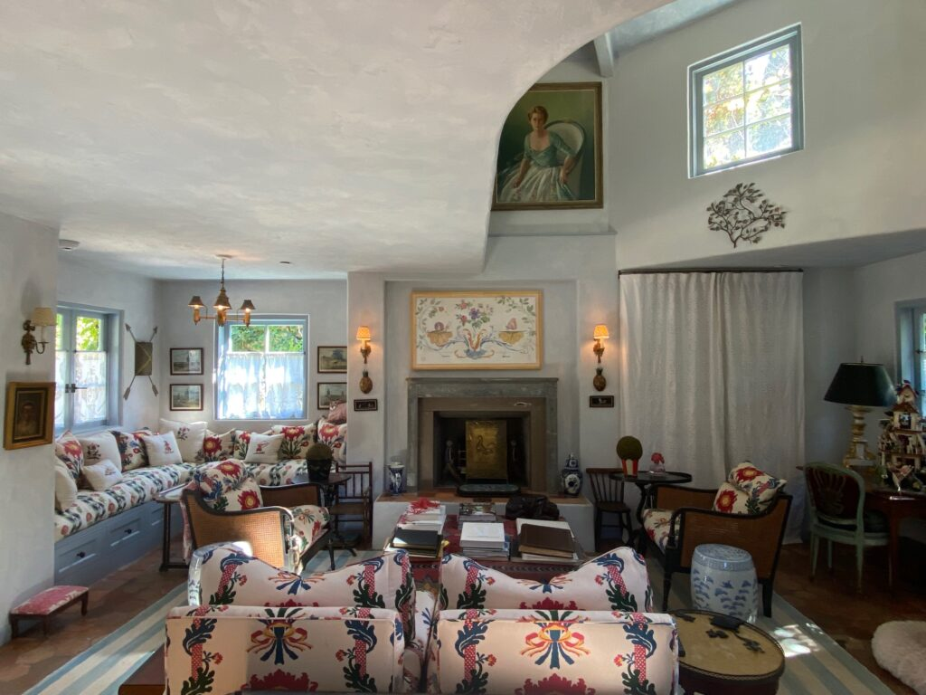 an indoor shot of the living area of the guest house of the French Farmhouse Montecito property