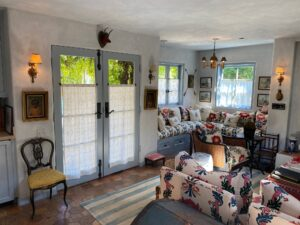 an indoor shot of the guest house of the French Farmhouse Montecito property