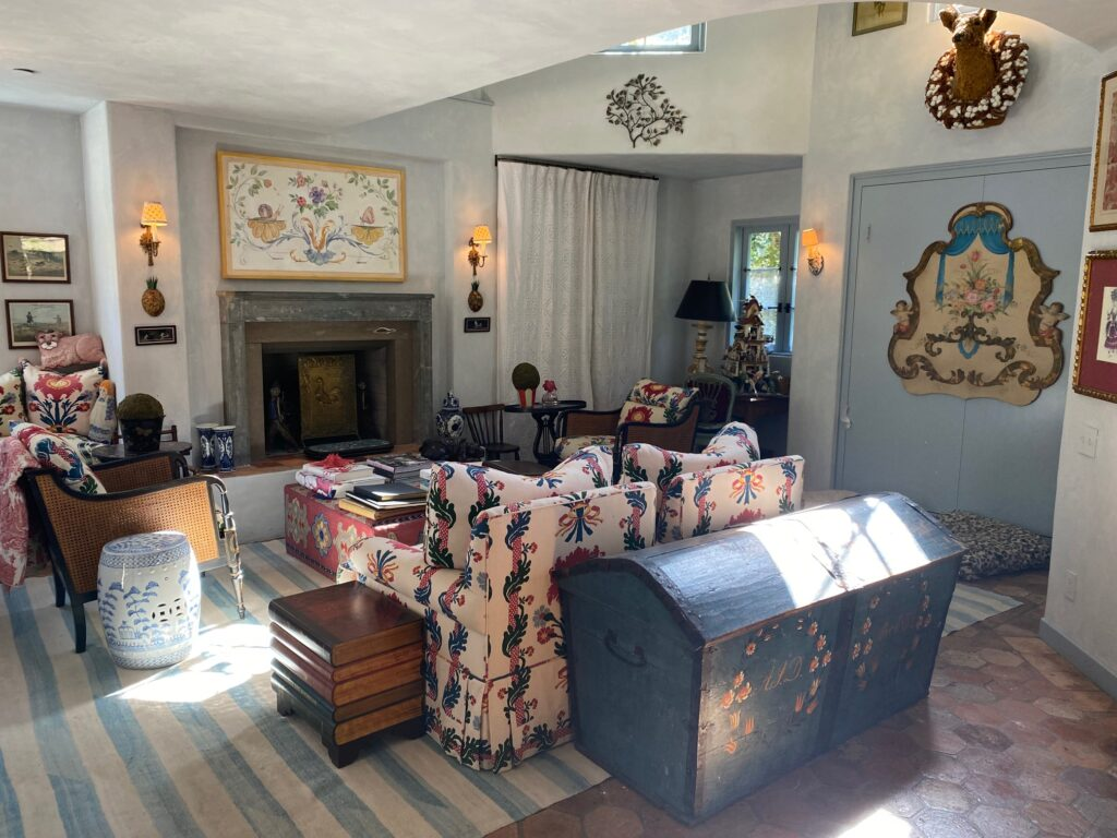 inside the guest house of the French Farmhouse Montecito property
