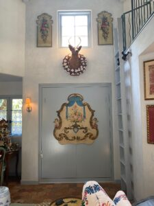 the entry foyer of the guest house at the French Farmhouse Montecito property