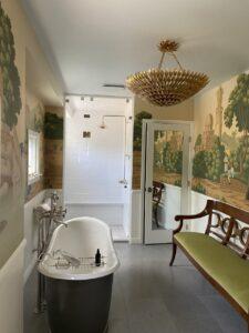 The custom bath inside of the Santa Monica Spanish Revival property